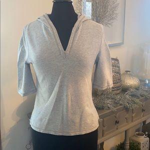 ANN TAYLOR Grey short sleeve hooded sweat shirt
